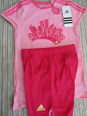 adidas girls pink t-shirt and red shorts set: Size 2 -3 years & 3 - 4 years