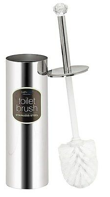 Bath Bliss Stainless Steel Toilet Brush Set With Crystal Diamond, 3.5x14.5