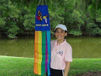 "Happy Hour Fish Flag 100% Polyester Wind Sock W/Grommets 60"" Embroidered"