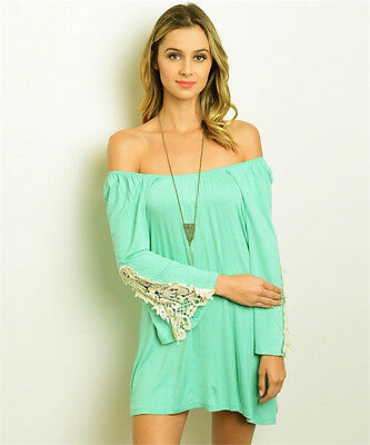MOA Mint Ivory Off-The-Shoulder Summer Beach Party Dress, Made in USA - S, M, L