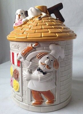 Cookie Shop Bakery Cookie Jar w Chef and Puppy Dog