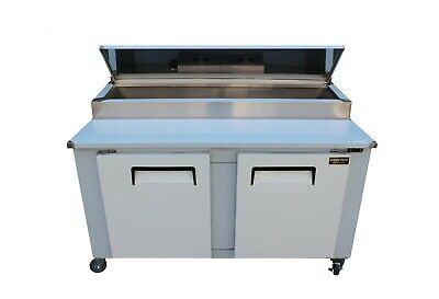 """New Cooltech 2-Door Refrigerated Pizza Prep Table 60"""""""