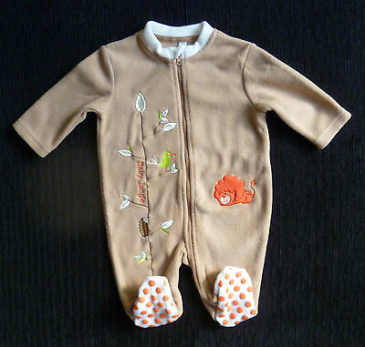 Baby clothes UNISEX BOY GIRL 0-3m zip coffee-colour bird/lion fleecy sleepsuit