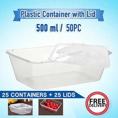 Take Away Containers 25 Pc & Lids 25 Pc 500Ml Disposable Plastic Food Container