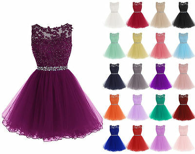 New Short Bridesmaid Formal Gown Ball Party Evening Prom Dress Size 6-22