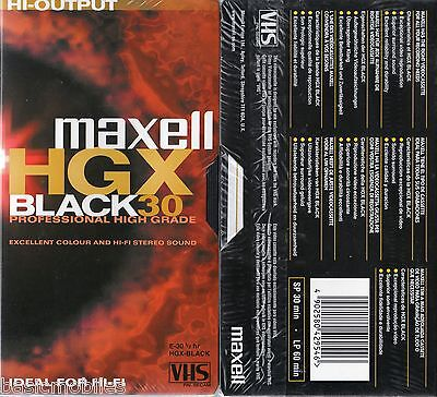 10 X Maxell E30 30 Mins Hgx Black Professional High Grade Blank Vhs Video Tapes
