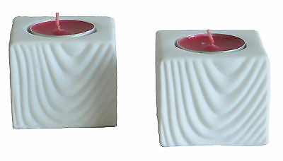 Two White Ceramic Pottery Table Tea Light Holders Candle Lights Square Rustic