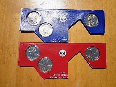 2016 P & D Presidential Dollar 6 Coin Set Lot Sealed Uncirculated Mint Cello