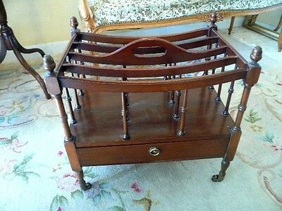 Mahogany Canterbury Magazine Rack With Drawer