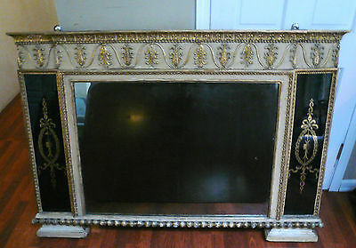 French 1800's gold gilt carved wood mirror large important