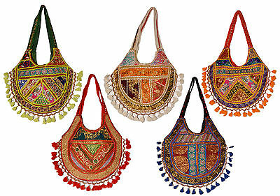 10 Cotton Ethnic Sequin Work Embroidered Style Hippie Tote Wholesale Lot Bags