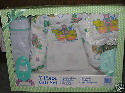 7 Piece Baby Gift Set Bottle Pillow Rattle Teether NEW!