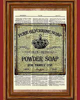 Vintage Powder Soap Dictionary Art Print Poster Picture Bathroom Wall Decor