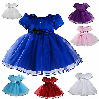 New Party Bridesmaid Flower Girl Dresses White,Ivory,Purple,Blue,Pink 6M-2Year