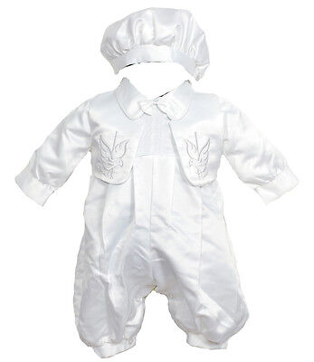 New Boys Satin Christening Three Piece Set Outfit 0-3 Months to 9-12 Months