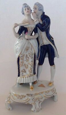 "Royal Dux Bohemia Victorian Couple Cobalt Gold 8 1/2"" Porcelain Statue Figurine"