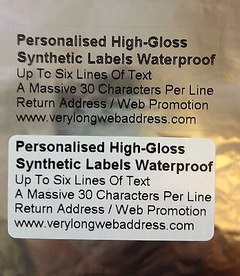 Personalised High-Gloss Synthetic Labels Waterproof Clear / White   50mm x 25mm
