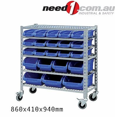GRIP Mobile Storage Bin Rack with 22 Bins
