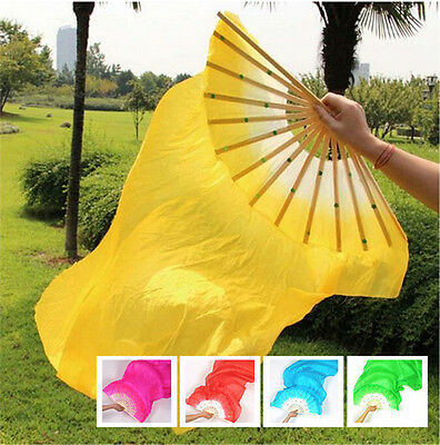 2PC Left Hand+Right Hand  Belly Dance Bamboo Long Hand Made Silk Fans Veils 1.8m