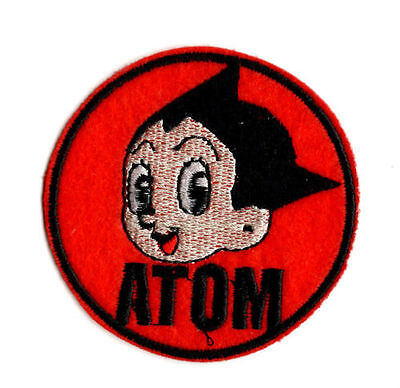 RED ASTRO BOY IRON ON / SEW ON PATCH Embroidered Badge ATOM Circle Round PT3