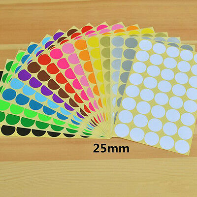 400* 25mm Coloured Dot Stickers Round Sticky Adhesive Spot Circles Paper Labels