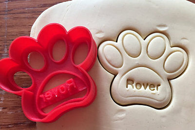 Personalized Paw Print Dog Treat cookie cutter with name imprint - US SELLER!!