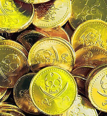Large Gold Foil Pirate Chocolate Coins. Retro Sweets Party Bags!