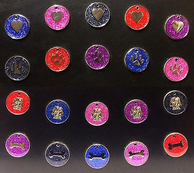 Pet Tags - High Quality Glitter Effect with FREE Engraving & FREE P+P