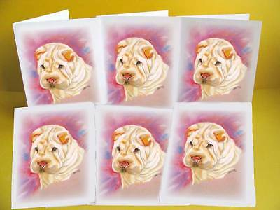 Shar Pei Colour Dog Notelets / Blank Cards pack of 6 with envelopes, A6 small