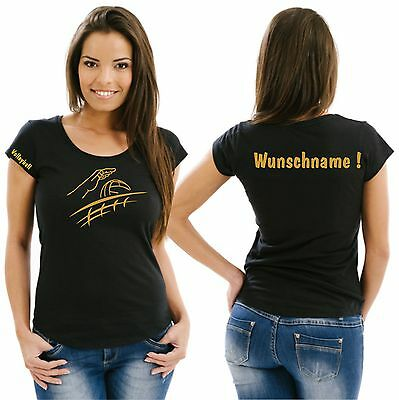 Volleyball Damenshirt Girlieshirt Damen T-Shirt Verein Turnier Wettkampf Ball 11
