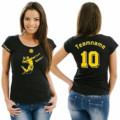 Volleyball Damenshirt Girlieshirt Damen T-Shirt Verein Turnier Beach Netz 14