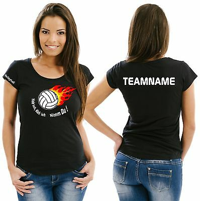 Volleyball Damenshirt Girlieshirt Damen T-Shirt Verein Turnier Beach Netz 19