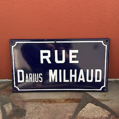 Old French Street Enameled Sign Plaque - vintage milhaud 2