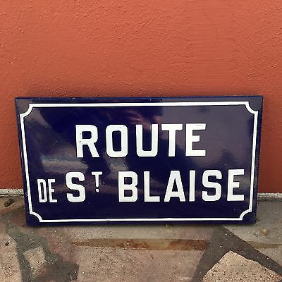 Old French Street Enameled Sign Plaque - vintage st blaise