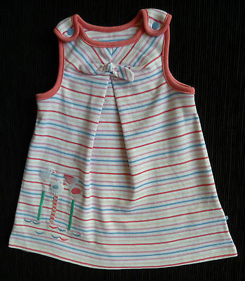 Baby clothes GIRL 3-6m M&S brushed cotton pink/blue stripe seagulls dress NEW!