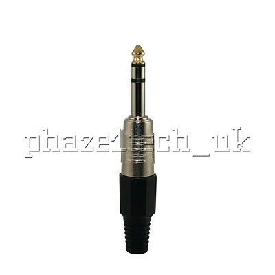"""Pro Jack 1/4"""" 6.35mm Audio Stereo Male Gold Tip End Quality Adapter Connector"""