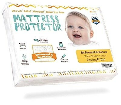 Waterproof Crib Mattress Protector Pad Sheet Cover - Ultra-Soft Bamboo Rayon Fab