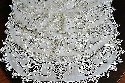 7 Exquisite Antique Point de Venise Embroidery Lace Linen Oval Placemats