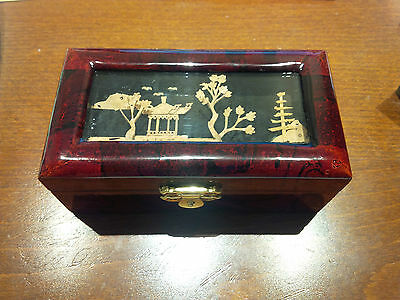 Chinese Cork Picture Jewellery box Handmade Lacquer