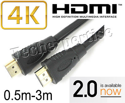 0.5m 1m 1.5m 2m 3m HDMI Cable V2.0 Gold Plated 3D 4K for Apple TV Mac Mini Pro