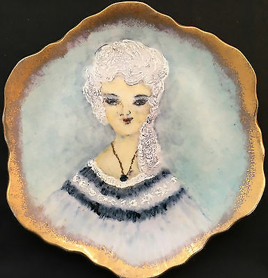 Korean Hand Painted Plate with Woman in White Hair Design
