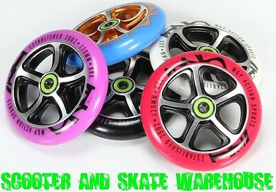 2X MGP MADD GEAR 120mm METAL CORE SCOOTER WHEELS WITH BEARINGS FITTED