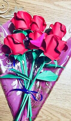Origami Roses paper flowers Valentine Anniversary Birthday Bouquet Gift for her