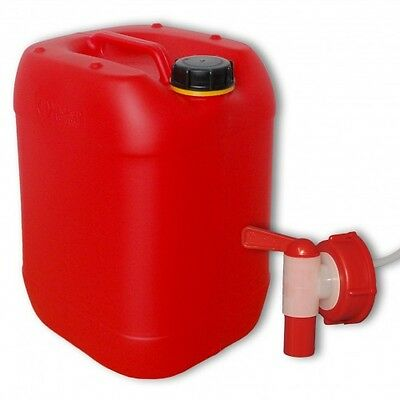 Plastic red canister Jerrican 20 L DIN61+ 1 aeroflow tap from germany(22025+010)