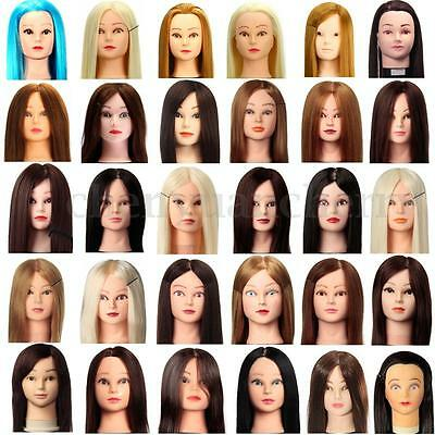 30%-100% Long Real Human Hairdressing Practice Training Cut Head Mannequin Clamp