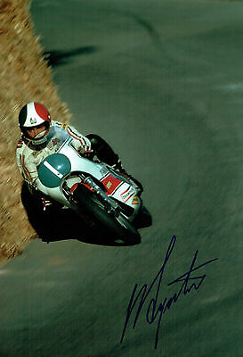 Giacomo AGOSTINI Autograph SIGNED 12x8 Photo Isle of Man TT WINNER AFTAL COA