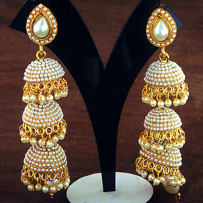 Indian Ethnic Bollywood 3 Step Jumka Gold Plated Traditional Earring FASHION EDH