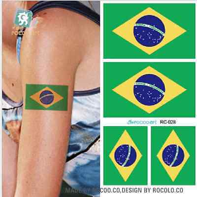 10Pcs BRAZIL Flag Tattoo Temporary Body Fans Face Stickers 2016 Olympic Games