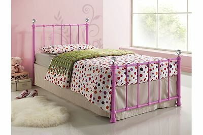 Pretty Victorian Style Girls 3FT Metal Bed Frame Hot Pink or Cream w/ Mattresses
