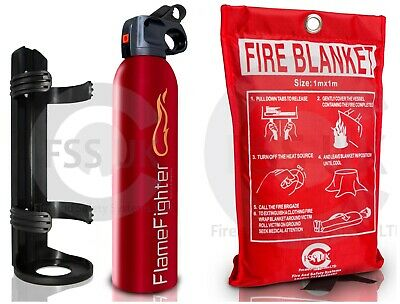 600 G Powder Fire Extinguisher + Fire Blanket For Homes Kitchens Caravan